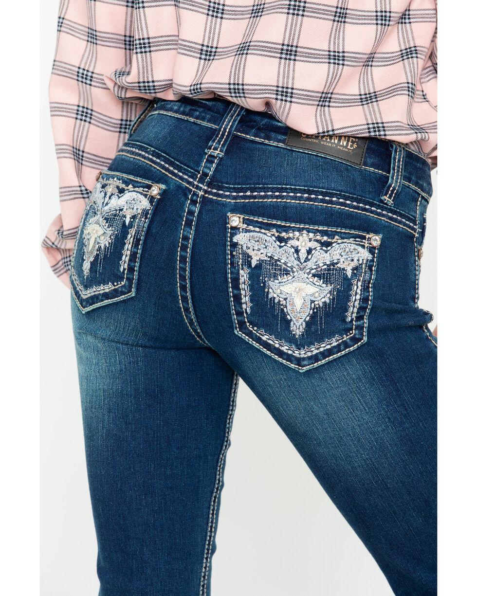 Shyanne Women's Dark Studded Boot Jeans , Blue, hi-res