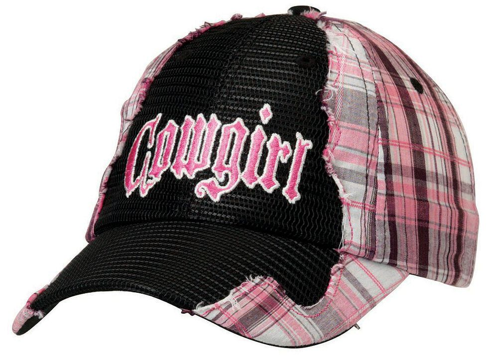 "Pink Plaid & Black Mesh ""Cowgirl"" Hat, Black, hi-res"