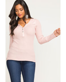 Idyllwind Women's Sweet Melody Henley Tee, Blush, hi-res
