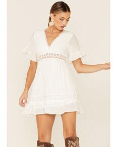 Wishlist Women's Lace Trim Mini Dress, Ivory, hi-res