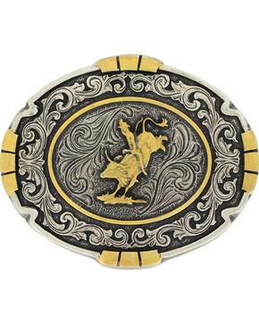 Montana Silversmiths Men's Silver Bull Rider Belt Buckle , Silver, hi-res