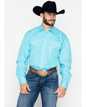 Roper Men's Blue Diamond Long Sleeve Western Shirt, Turquoise, hi-res