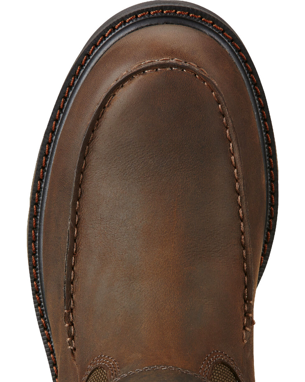 Ariat Men's Groundbreaker Waterproof Moc Toe Work Boots - Steel Toe, Dark Brown, hi-res