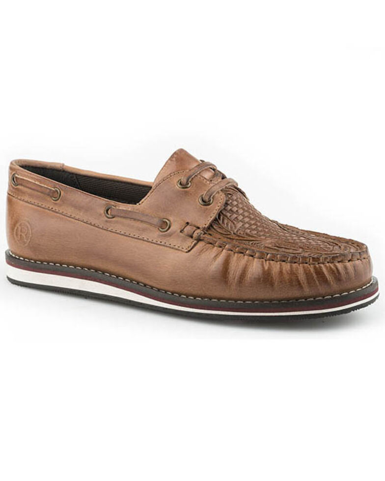 Roper Women's Burnished Leather Shoes - Moc Toe, Tan, hi-res