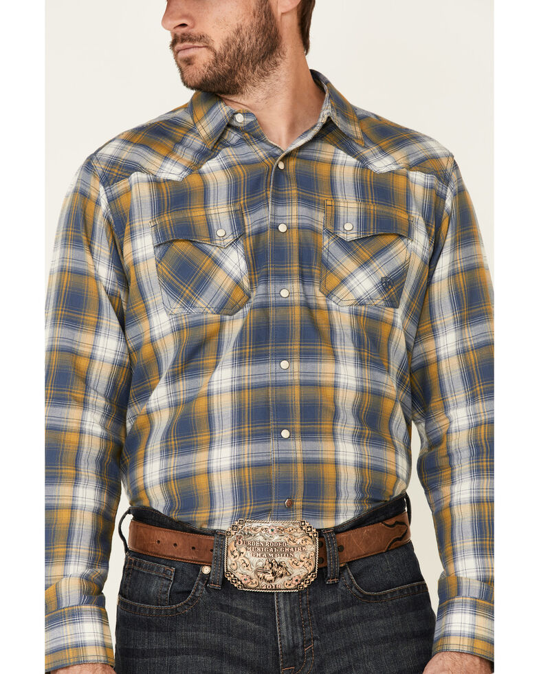Ariat Men's Moss Alhambra Retro Plaid Long Sleeve Snap Western Shirt , Green, hi-res