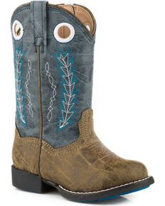 Roper Toddler Boys' Hole In The Wall Red Embroidered Cowboy Boots - Round Toe, Blue, hi-res