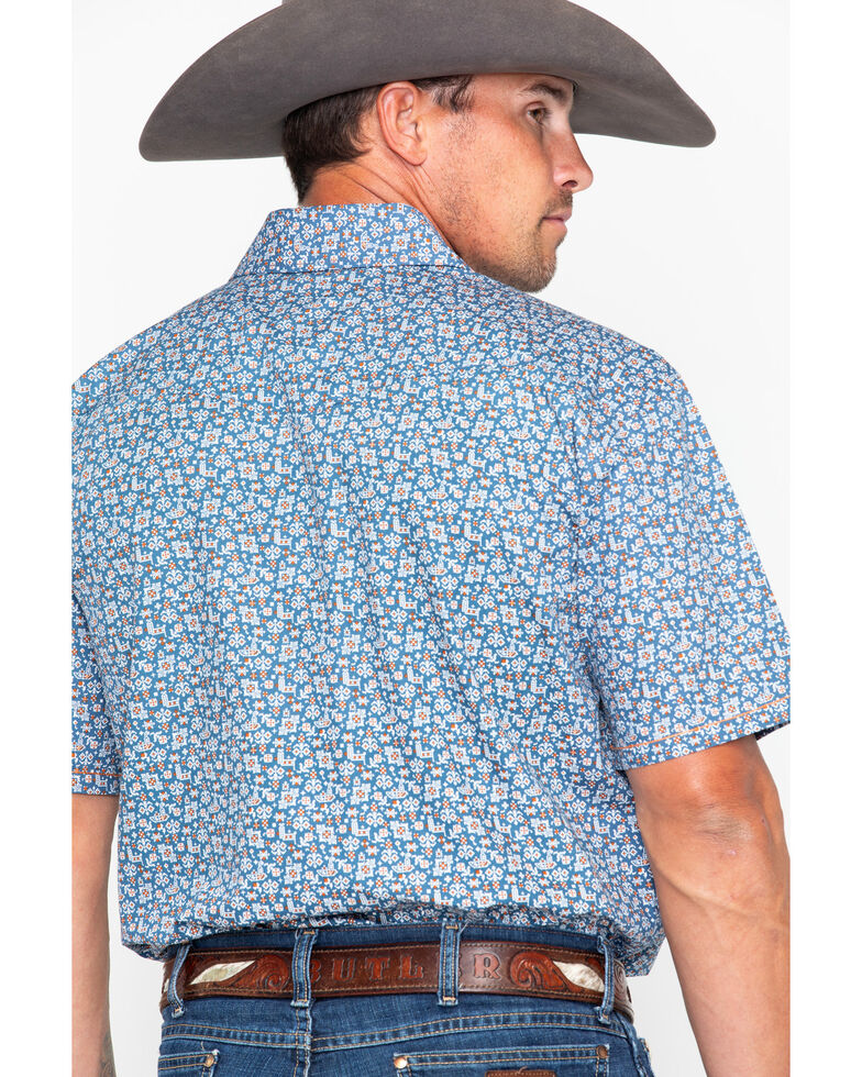 Panhandle Men's Rough Stock Praha Vintage Print Short Sleeve Western Shirt , Navy, hi-res