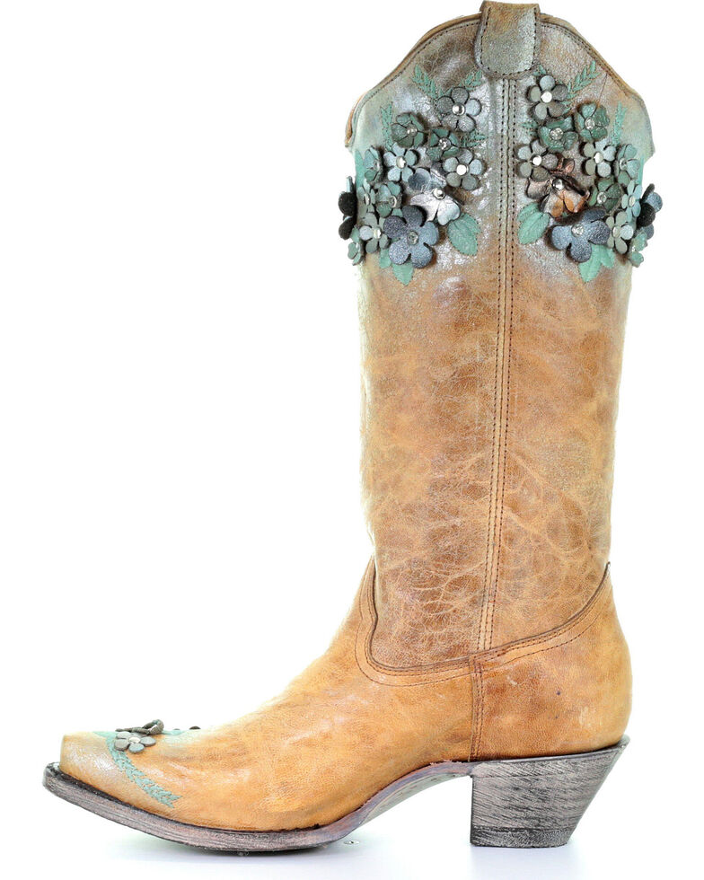 Corral Women's Sand Floral Overlay Embroidered Stud and Crystals Cowgirl Boots - Snip Toe , Sand, hi-res