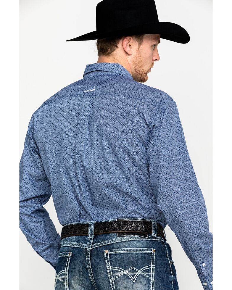 Ariat Men's Ramos Geo Print Long Sleeve Western Shirt - Big, Blue, hi-res