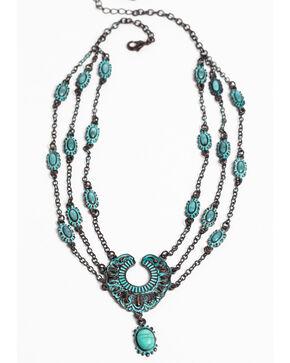 Shyanne Women's Patina Crescent 3 Chain Short Necklace, Turquoise, hi-res