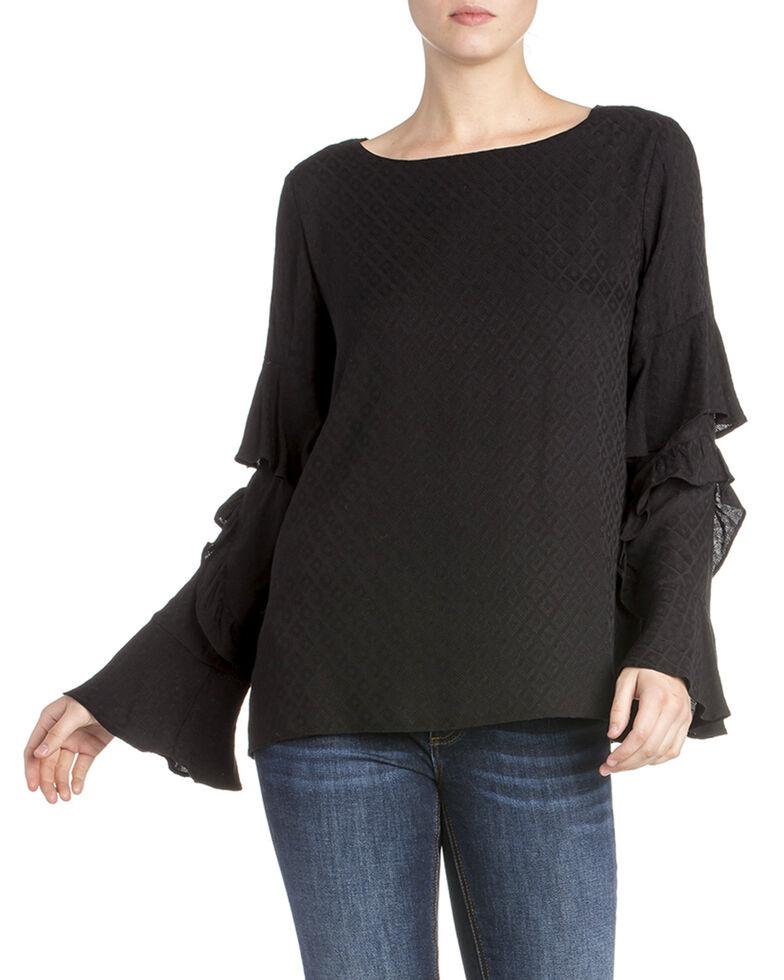 Miss Me Women's Ruffle Bell Long Sleeve Top, Black, hi-res