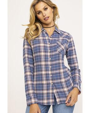 Shyanne Life Women's Blue Plaid Woven Core Long Sleeve Western Shirt, Blue, hi-res