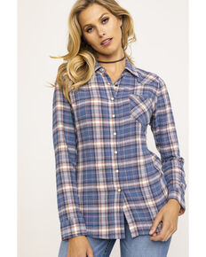 a2c04bf5 Shyanne Life Women's Blue Plaid Woven Core Long Sleeve Western Shirt