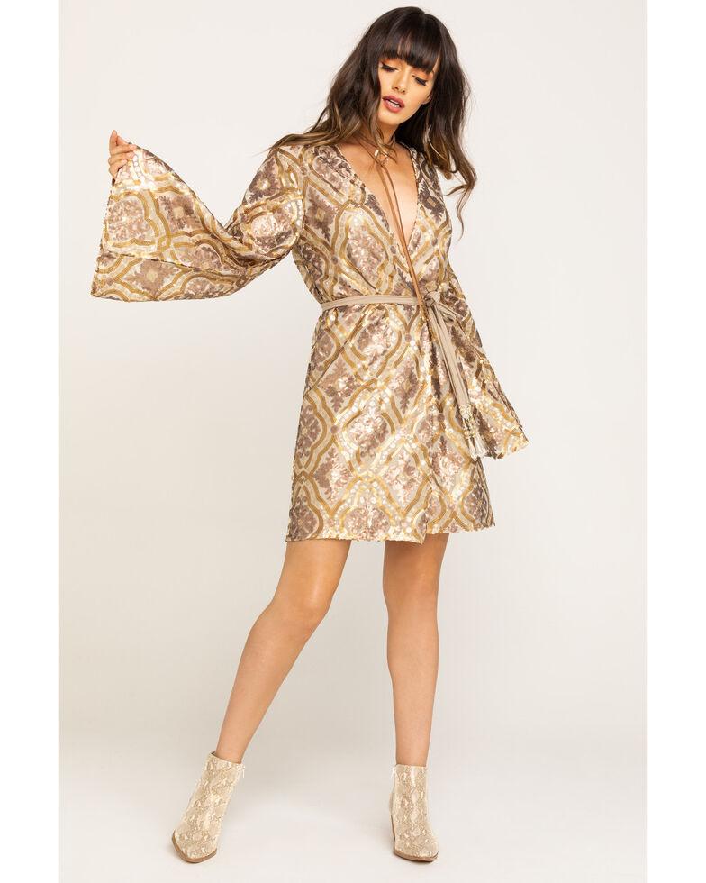 Aratta Women's Gold Wrap Long Sleeve Sequin Mini Dress , Gold, hi-res