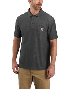 Carhartt Men's Contractors Work Pocket Short Sleeve Polo Shirt , Heather Grey, hi-res