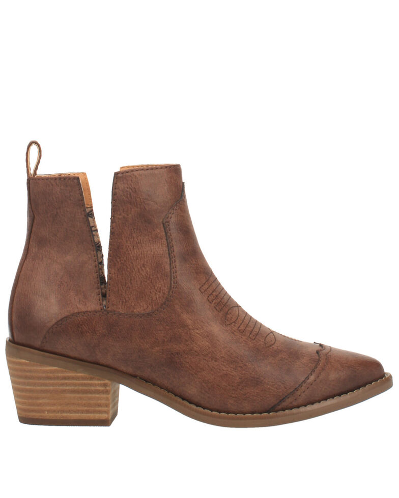Code West Women's Slaps Fashion Booties - Round Toe, Brown, hi-res