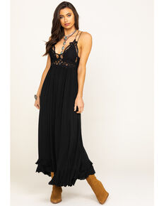 Free People Women's Black Adella Maxi Slip Dress, Black, hi-res