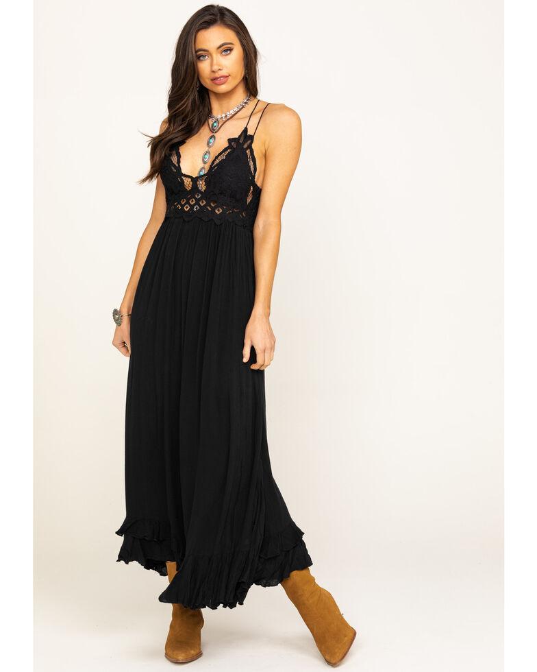 Free People Women's Black Adella Maxi Slip Dress, Black, hi-res