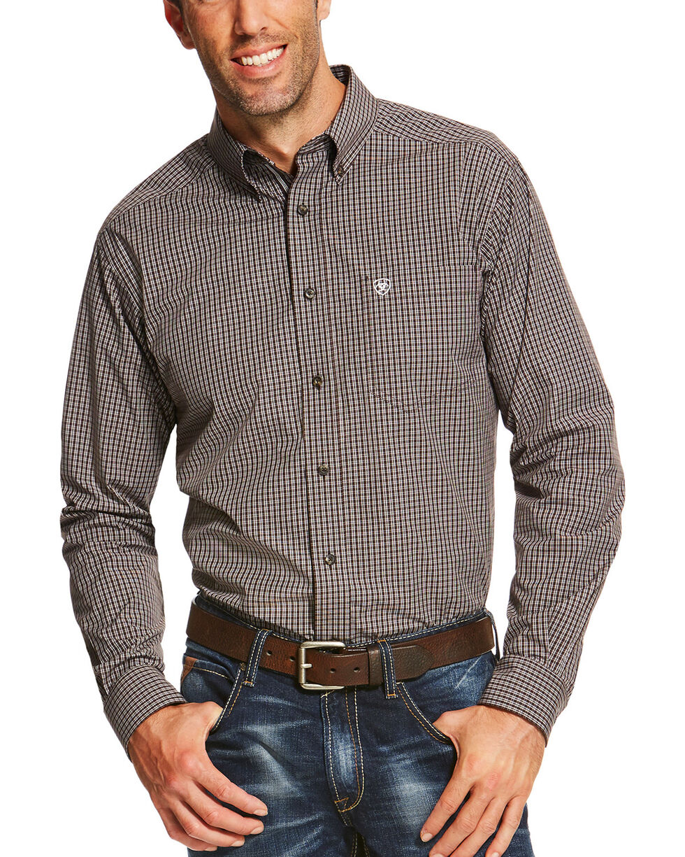 Ariat Men's Brown Pro Series Phillips Fitted Shirt , Brown, hi-res
