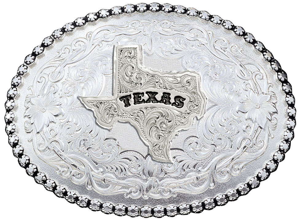 Montana Silversmiths Antiqued Silver 6189 Series Texas State Western Belt Buckle, Silver, hi-res