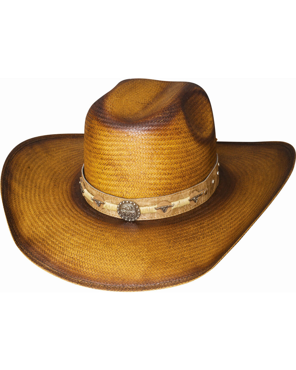 Bullhide Cattle Drive Straw Cowboy Hat , Pecan, hi-res