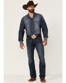 Cinch Men's Ian Dark Stonewash Stretch Slim Bootcut Jeans , Indigo, hi-res