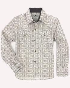 Ely Cattleman Boys' Assorted Aztec Border Print Long Sleeve Western Shirt , Beige/khaki, hi-res