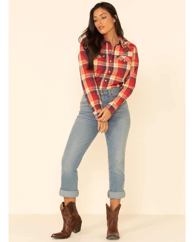 Wrangler Women's Red Plaid Embroidered Long Sleeve Western Shirt , Red, hi-res