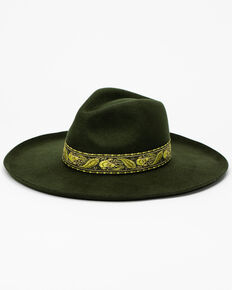 Lack Of Color Women's Forest Green Melodic Fedora Hat , Green, hi-res