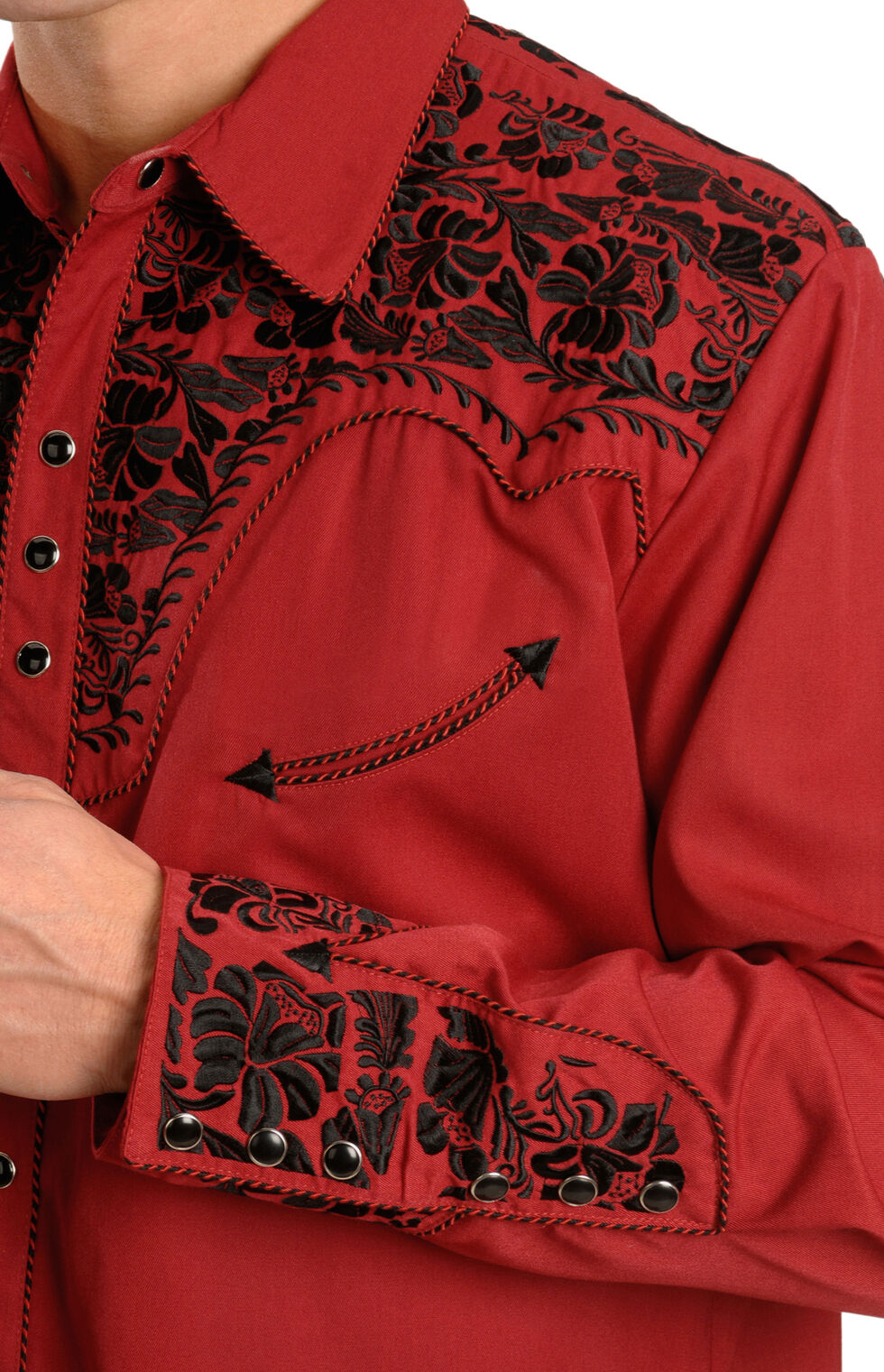 Scully Embroidered Red Retro Western Shirt, Red, hi-res