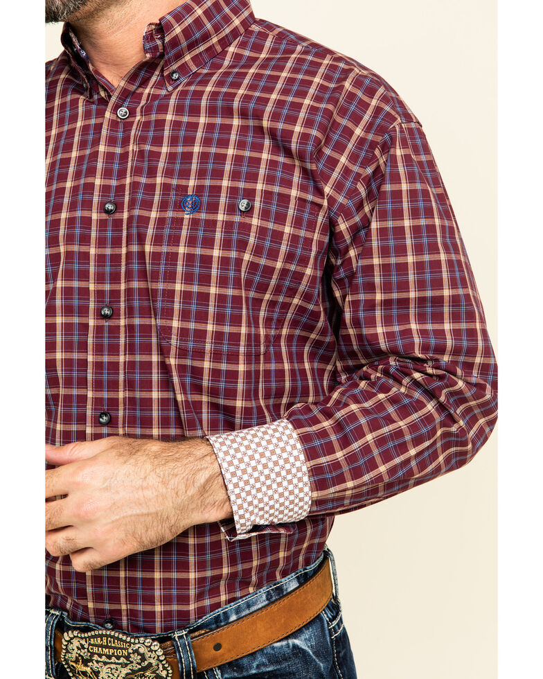 George Strait by Wrangler Men's Burgundy Med Plaid Button Long Sleeve Western Shirt , Burgundy, hi-res