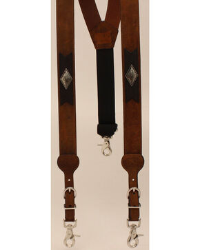 Nocona Concho Suspenders, Med Brown, hi-res