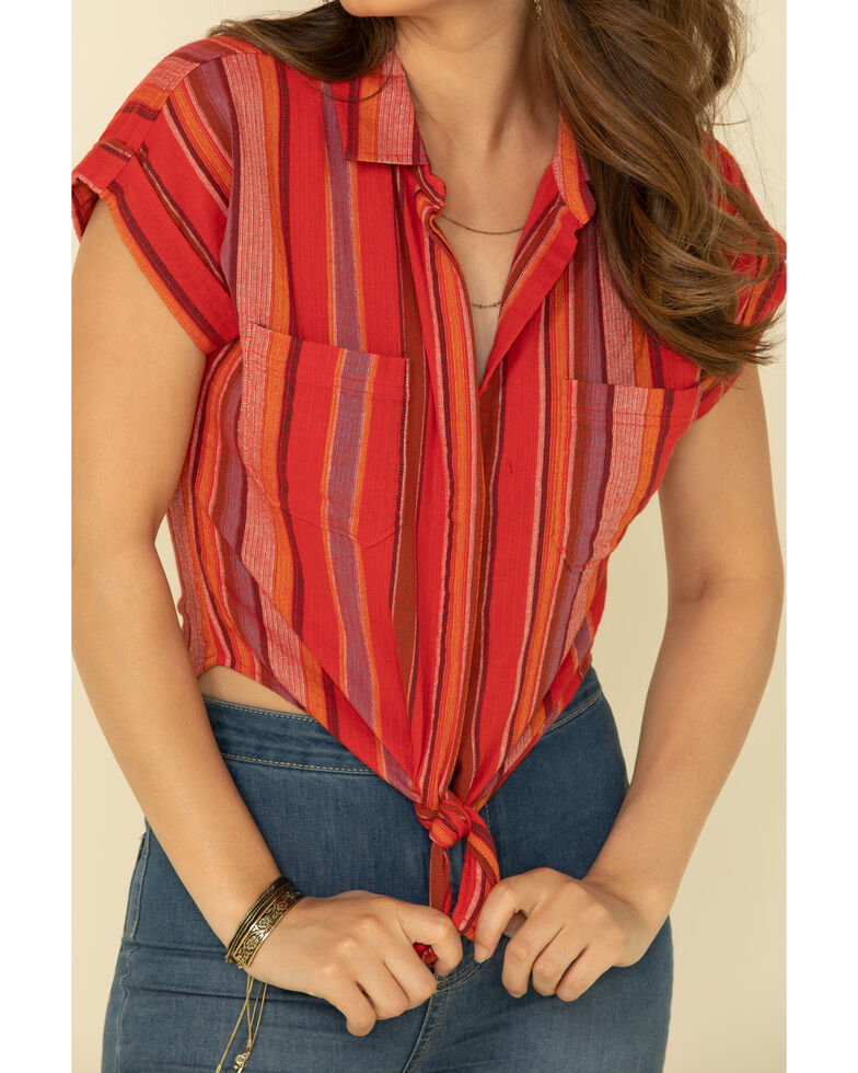 Shyanne Women's Red Multi Serape Button Front Shirt, Red, hi-res