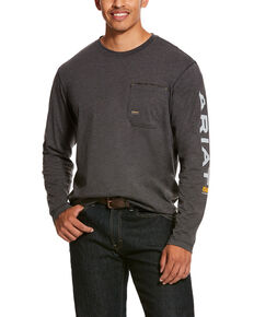 Ariat Men's Rebar Workman Logo Long Sleeve Work Shirt - Big & Tall, Charcoal, hi-res