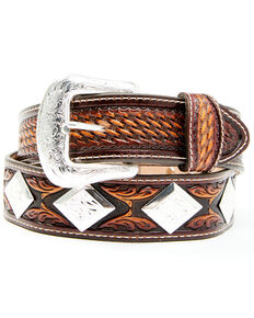 Leegin Men's Brown Buscadero Leather Belt, Brown, hi-res