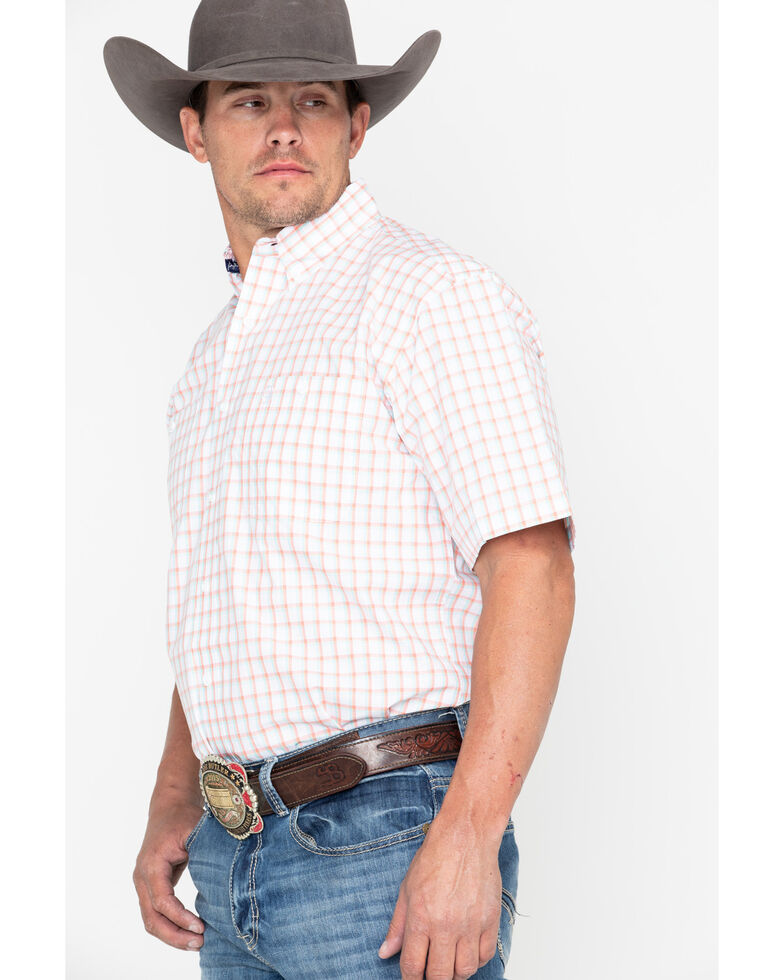 George Strait by Wrangler Men's Coral Small Plaid Short Sleeve Western Shirt , Coral, hi-res