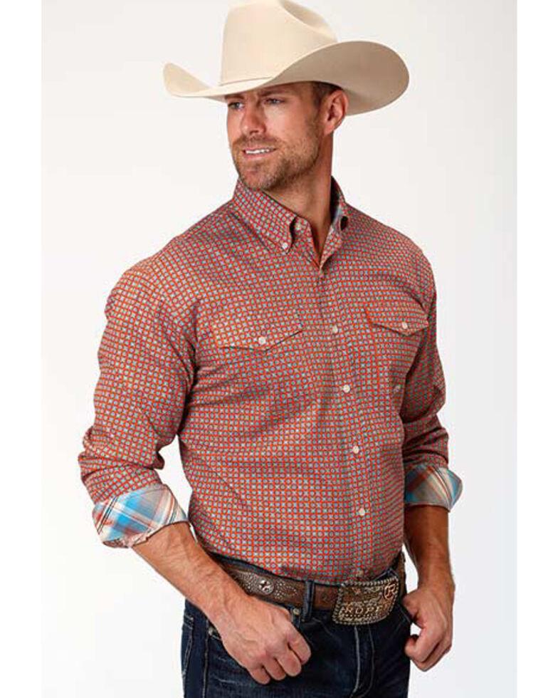 Amarillo Men's Clay Foulard Print Long Sleeve Western Shirt , Orange, hi-res