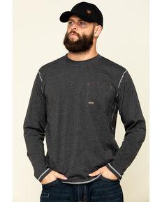 Ariat Men's Charcoal Rebar Workman Camo Flag Graphic Long Sleeve Work T-Shirt - Big , Charcoal, hi-res