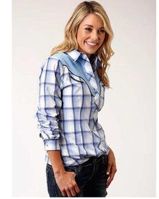 Roper Women's Blue Plaid Embroidered Applique Long Sleeve Western Shirt , Blue, hi-res