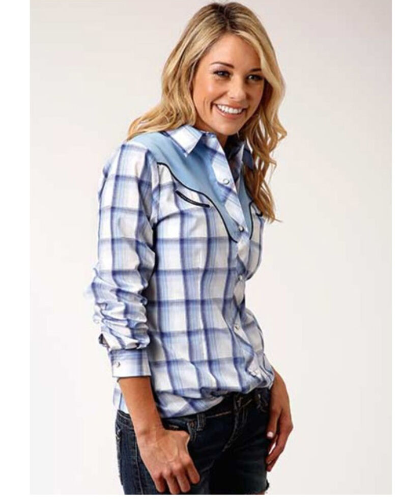 Roper Women's Blue Plaid Embroidered Applique Long Sleeve Western Shirt , Blue, hi-res