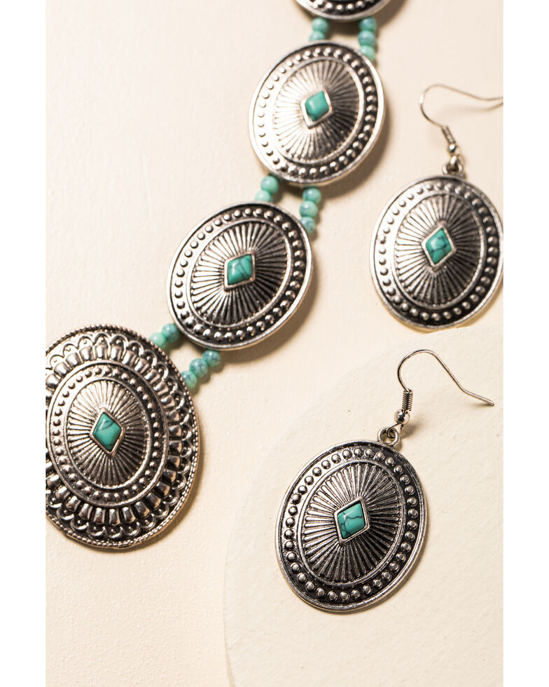 Shyanne Women's In The Oasis Concho Jewelry Set , Silver, hi-res