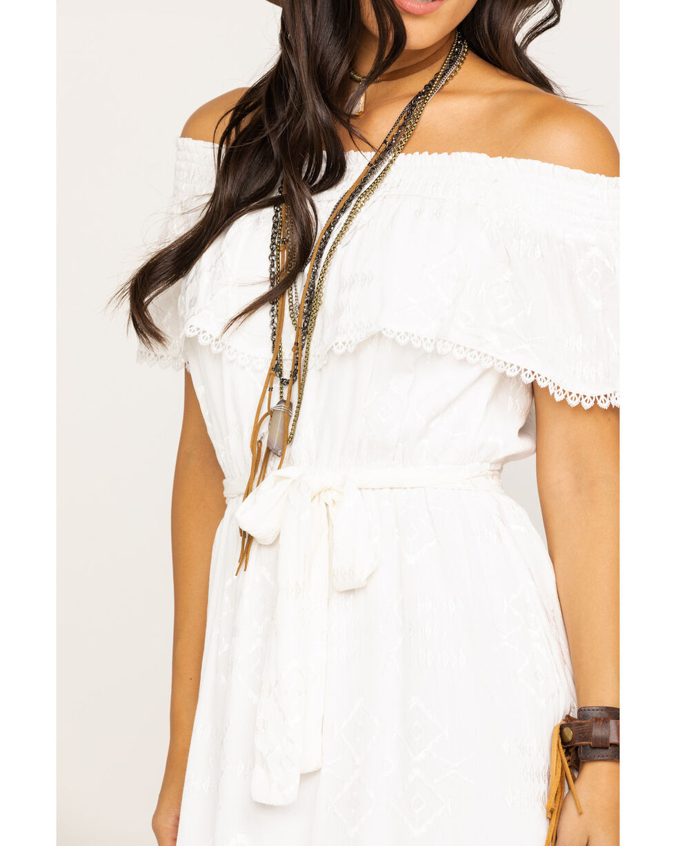 Miss Me Women's White Embroidered Eyelet Off Shoulder Dress, White, hi-res