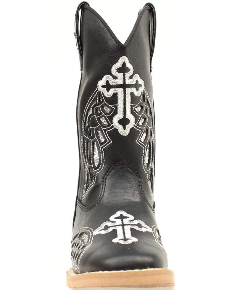 Blazin Roxx Girls' Gracie Wings and Cross Inlay Boots, Black, hi-res