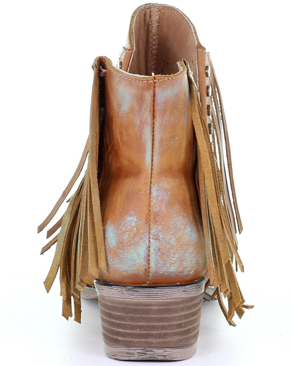 Corral Women's Honey Studs & Fringe Fashion Booties - Round Toe, Honey, hi-res