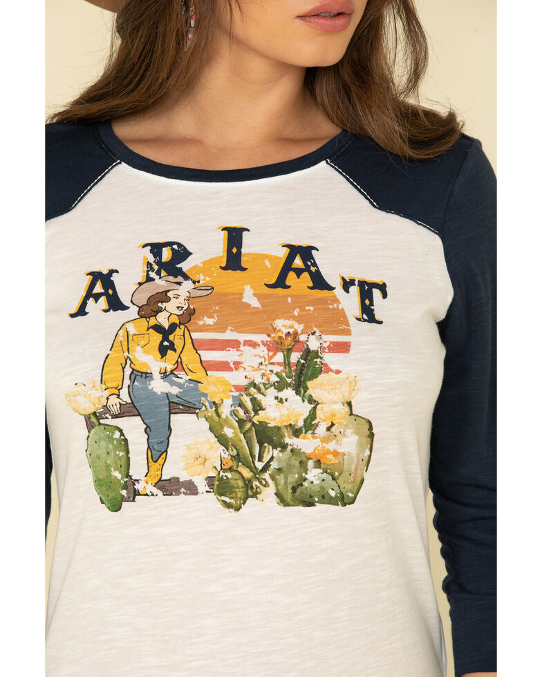 Ariat Women's Take It Easy Long Sleeve Top, Navy, hi-res