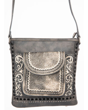 Shyanne Women's Tooled Metallic Pocket Crossbody, Grey, hi-res