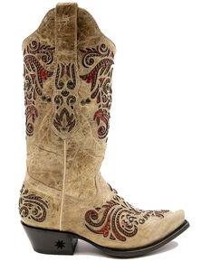 Black Star Women's Salado Western Boots - Snip Toe, Cream/red, hi-res