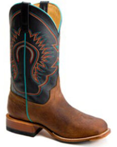 HorsePower Boys' Black Ranch Western Boots - Wide Square Toe, Tan, hi-res