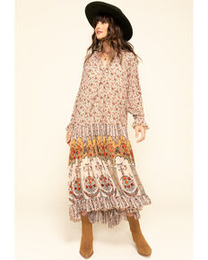 Free People Women's Ivory Feeling Groovy Border Maxi Dress , Ivory, hi-res