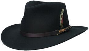 Scala Men s Black Crushable Wool Felt Outback Hat 6d6441340b0